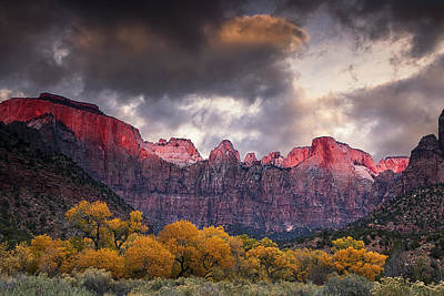Autumn Morning In Zion Poster by Andrew Soundarajan