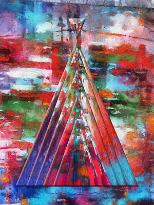 Autumn On The Plains Abstract Tee Pee Poster by Thomas Woolworth