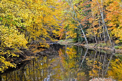 Autumn Reflecting Poster by Frozen in Time Fine Art Photography
