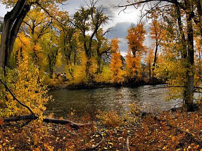 Autumn River Light Poster by Leland D Howard