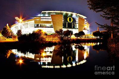 Autzen At Night Poster by Michael Cross
