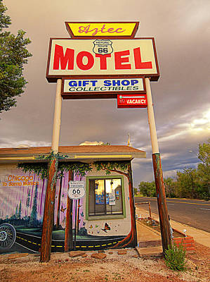 Aztec Motel On Route 66 Poster by Ron Regalado
