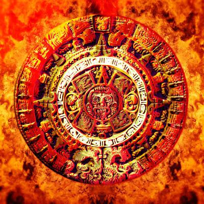 Aztec Sun Stone Poster by YoPedro