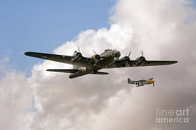 B17 And P51 Poster by J Biggadike