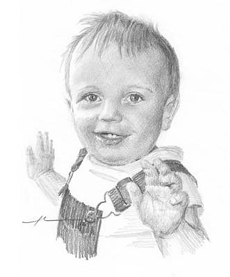 Baby Boy In Overalls Pencil Portrait Poster by Mike Theuer