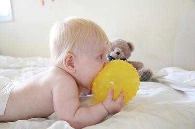 Baby Eating A Yellow Ball Poster by Photostock-israel