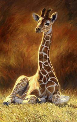 Baby Giraffe Poster by Lucie Bilodeau