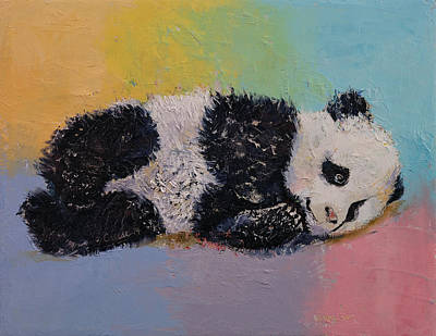 Baby Panda Rainbow Poster by Michael Creese