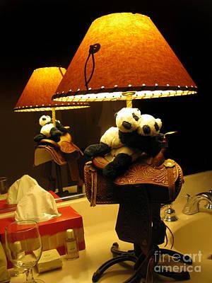Baby Pandas In A Saddle  Poster by Ausra Huntington nee Paulauskaite