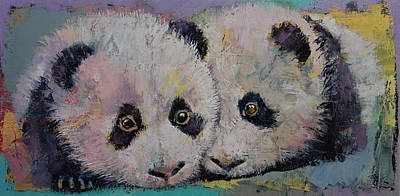 Baby Pandas Poster by Michael Creese