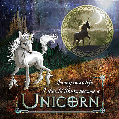 Baby Unicorn Poster by Evie Cook