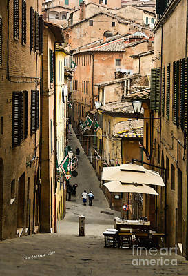 Back Street In Siena Italy Poster by Jim  Calarese