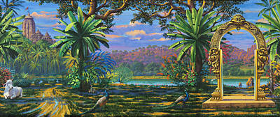 Backdrop For Three Altars Poster by Vrindavan Das
