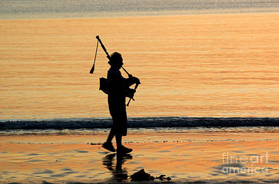 Bagpiper At Sunset Poster by Colin Woods