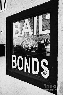 bail bonds open sign in a window Las Vegas Nevada USA Poster by Joe Fox