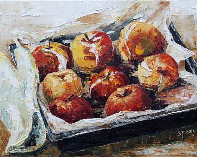 Lebensmittel Poster featuring the painting Baked Apples by Barbara Pommerenke