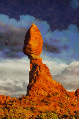 Balanced Rock At Sunset Digital Painting Poster by Mark Kiver