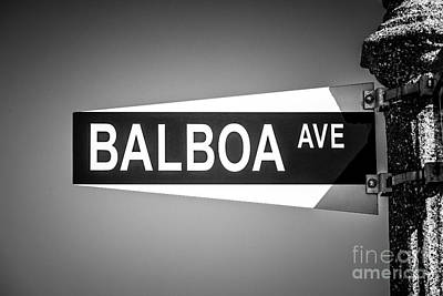 Balboa Avenue Street Sign Black And White Picture Poster by Paul Velgos