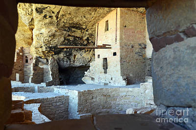 Balcony House Window View At Mesa Verde National Park Anasazi Ruins Poster by Shawn O'Brien