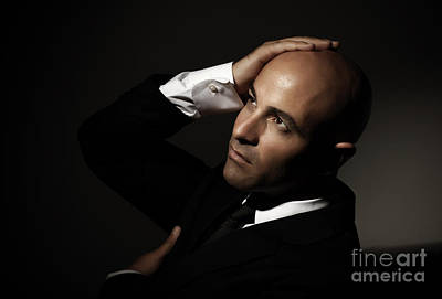 Bald Man Wearing Black Suit Poster by Anna Omelchenko