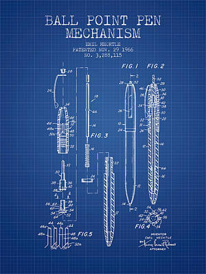 Ball Point Pen Mechansim Patent From 1966 - Blueprint Poster by Aged Pixel