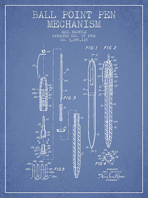 Ball Point Pen Mechansim Patent From 1966 - Light Blue Poster by Aged Pixel