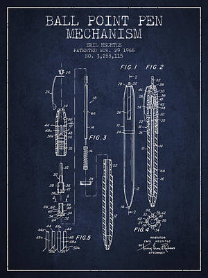 Ball Point Pen Mechansim Patent From 1966 - Navy Blue Poster by Aged Pixel