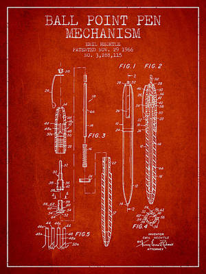 Ball Point Pen Mechansim Patent From 1966 - Red Poster by Aged Pixel