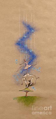 Ballerina And Elephant Poster by David Breeding