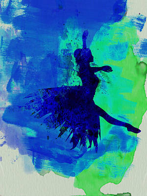 Ballerina On Stage Watercolor 5 Poster by Naxart Studio