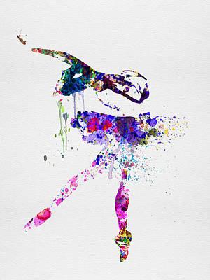 Ballerina Watercolor 2 Poster by Naxart Studio