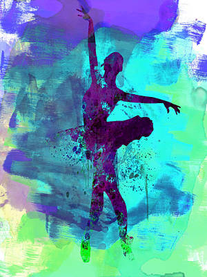 Ballerina Watercolor 4 Poster by Naxart Studio