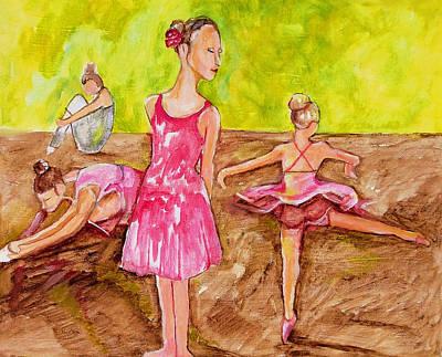 Ballerinas Stretching Poster by Nana Gale Van
