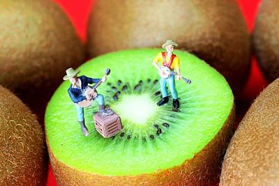 Band Show On Kiwi Fruits Little People On Food Poster by Paul Ge