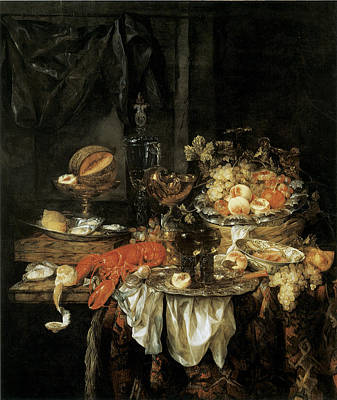 Banquet Still Life With A Mouse Poster by Abraham van Beyeren