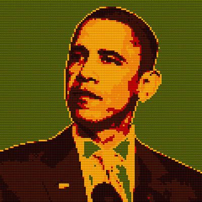 Barack Obama Lego Digital Painting Poster by Georgeta Blanaru