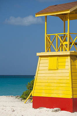 Barbados, Lifeguards Tower On Miami Poster by Ian Cumming