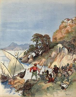 Barbary Pirates Terrorizing The Coast Poster by Albert Robida