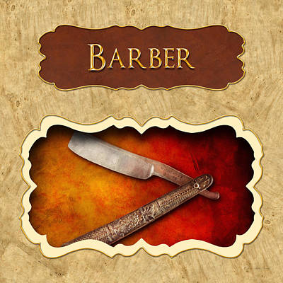 Barber Button Poster by Mike Savad