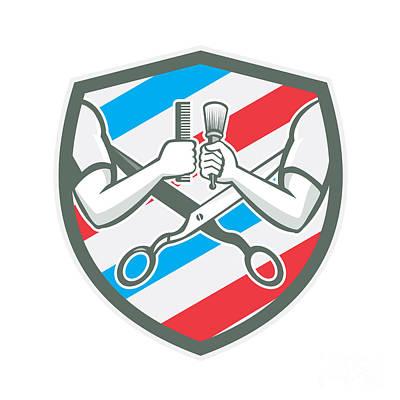 Barber Hand Comb Brush Scissors Shield Retro Poster by Aloysius Patrimonio