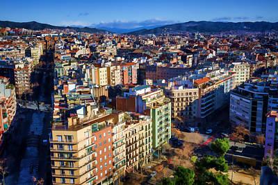 Barcelona From Sagrada Familia Poster by Joan Carroll