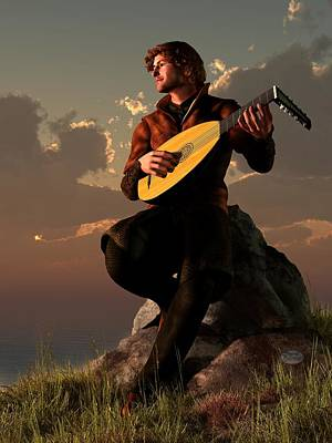 Bard With Lute Poster by Daniel Eskridge