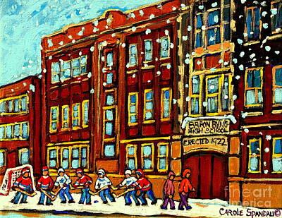 Baron Byng High School St Urbain Street Hockey Montreal Winter Scene Carole Spandau Montreal Artist Poster by Carole Spandau