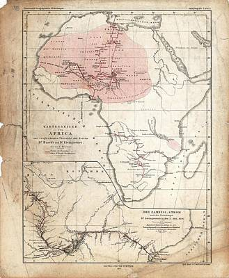 Barth And Livingstone's Africa Poster by Library Of Congress, Geography And Map Division