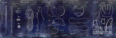 Baseball Patent Blue Poster by Jon Neidert