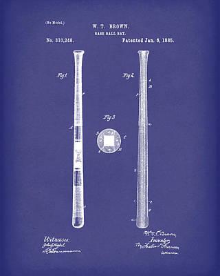 Baseball Bat 1885 Patent Art Blue Poster by Prior Art Design