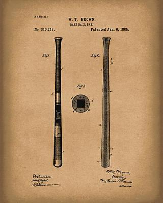 Baseball Bat 1885 Patent Art Brown Poster by Prior Art Design