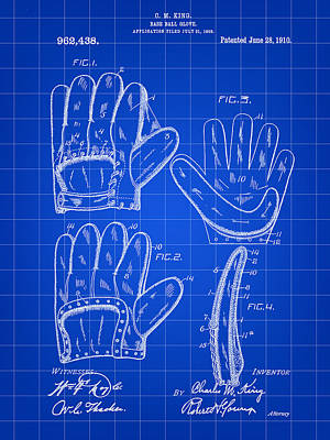 Baseball Glove Patent 1909 - Blue Poster by Stephen Younts