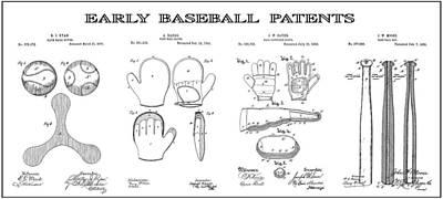 Baseball History Patent Art Poster by Daniel Hagerman