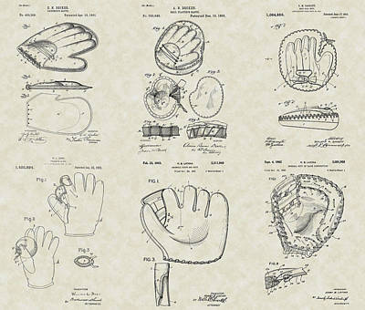 Baseball Mitt Glove Patent Collection Poster by PatentsAsArt
